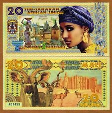 Sub-Saharan African Union, 20 Shillings, 2019, Private Issue Polymer > Woman