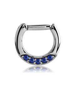 "Septum Clicker Hinged Steel Nose Ring Hoop Choose Your Color CZ 1/4"" 6mm 16G"