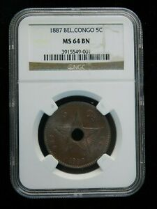 1887 belgium congo 5c ngc ms 64 brown