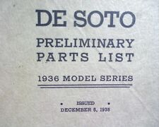 1936 Chrysler De Soto S1 & S2 FACTORY SPARE PARTS Manual, book list