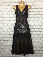 MASSIMO DUTTI LADIES UK 8 BLACK SEQUIN SILK DRESS FLAPPER GATSBY 20'S RRP £299