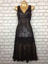 Massimo DUTTI Mujer Damas Vestido de Seda Lentejuelas Negro Aleta Gatsby años 20