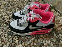 NIKE Air Max 90 Size 6.5 Youth Girls White Pink Black Running Shoes 345017-122