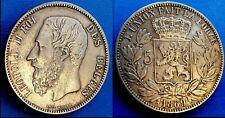 Belgique Léopold II 5 FRANCS 1869 - Petite tête - Zilver/Argent .900 Non Circulé
