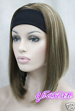 Ladies Cute Short BOB 3/4 wig with headband brown mix straight cosplay wigs