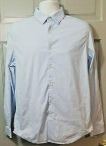 Men's Express 1MX Long Sleeve Button Down Shirt Powder Blue Size M
