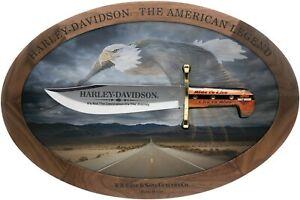 Case xx Harley Davidson Bowie Knife Display Set Black Delrin Eagle 52148