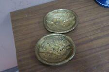 "Pair @ 2 Vintage Valenti Spain Fish Pisces Pin Dish Ashtray Bronze 4.5"" x 5"""