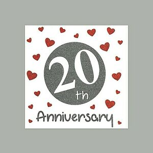 20th Special Wedding Anniversary Card - Quality Glittery Finish Love 20 Years