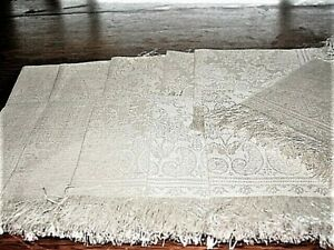 "Vtg.Linen Napkins DAMASK IVORY 11pc FRINGED NEVER USED! 15""SQ.1930-40'sExcCond!"