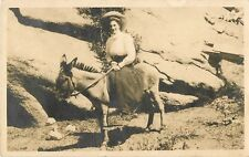 1911 Young Woman Riding A Donkey/Burro, Colorado Real Photo Postcard/RPPC