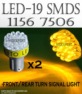 4pc 1156 1093 1259 LED 19 SMD Super Yellow Fit Front Turn Signal Light Bulb D108