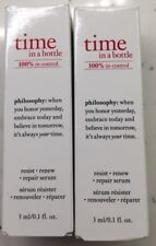 NEW 2pc. Philosophy TIME IN A BOTTLE Resist Renew Repair Serum travel size 2x0.1