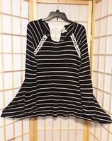 One World Womens Black White Striped Crochet Collar Flare Hem Blouse Tunic Top M