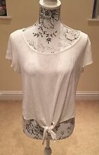 Ladies White Lace Back Top Size 16