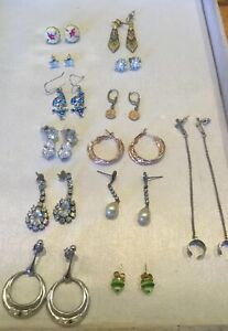 Mixed Job-lot Of 13 Pairs Of earrings For Pierced Ears Some Vintage Drop & Studs