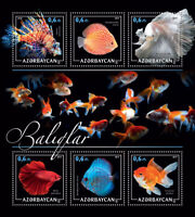 Azerbaijan Fish Stamps 2017 MNH Fishes Lionfish Goldfish Red Discus 6v M/S