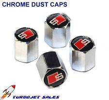 S-LINE Chrome Dust Caps Tyre Valve Car Van - A3 A4 A5 A6 S3 S4 S5 TT Q7 Q5