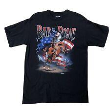 Vtg Bad To The Bone Bronco Riding Rodeo Shirt Sz Large Black Short Sleeve Tee