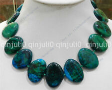 Large 23x32mm Flat block-shaped azurite gems phoenix stone beads necklace 17""