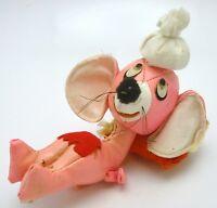 Vintage Vinyl Leather Body Mouse stuffed Plush Figure Pink Hong Kong