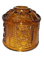 """Vintage, Fairy, Lamp, Shade, Amber Brown, """"Stars & Bars"""" Indiana Glass Co."""