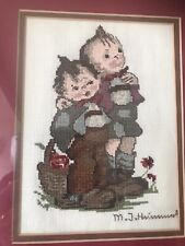 VINTAGE HUMMEL Completed CROSS STITCH PICTURE HOME DECOR