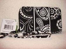 New Vera Bradley Zip-Around Wristlet - Midnight Paisley - Free Shipping