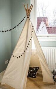 Tipi Zelt Spielzelt Kinderzelt f. Kinderzimmer Stoff weiß Naturholz Gestänge R7+