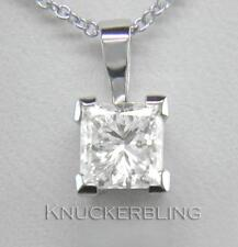0.50ct Diamond Solitaire Platinum Pendant Certified D IF VG Princess Cut & Chain