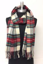 New 100% CASHMERE SCARF MADE IN SCOTLAND PLAID Check red/green/beige SOFT UNISEX