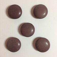 """5 Vintage Brown Plastic Sewing Buttons - 7/8"""" Round"""