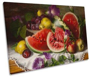 Still Life Kitchen Melons Fruit SINGLE CANVAS WALL ARTWORK Print Art
