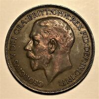 1922 Great Britain Penny, George V, KM# 810, AU  #2677