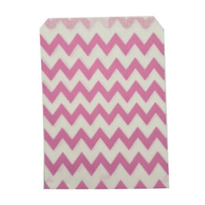 Paper Sweet Bags x25 - Pink Chevron Pattern Wedding White Craft Retro Vintage