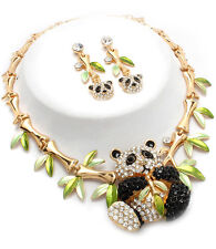 Gorgeous Statement Glam Crystal Panda Necklace Set GOLD or SILVER Rocks Boutique