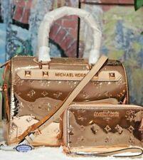 MICHAEL KORS KARA Large Duffle Satchel BAG & WALLET ROSE GOLD  Metallic Leather
