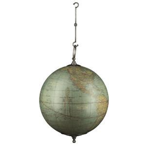 """Small Weber Costello Hanging World Globe Pewter Finish Hooks 5.5"""" Nautical Decor"""