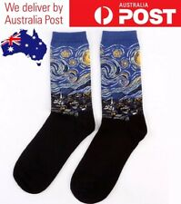 STARRY NIGHT NOVELTY SOCKS - VAN GOGH FAMOUS ART PAINTING, MID LENGTH CREW SOCKS