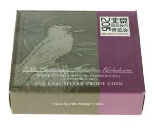 Australia - Silver ½ Dollar Coin - ½ Oz.- 'Australian Kookaburra'- 2015 - Proof