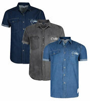 Smith & Jones Men's New Short Sleeve Denim Shirt Light Cotton Dark Grey Mid Blue