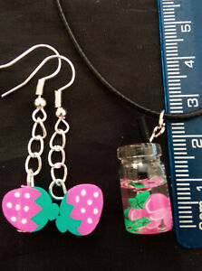 A Fun Set Polymer Clay Apple & Strawberry Earrings and Glass Drink Necklace FUN