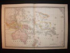 1886 Oceanica Australia Polynesia Alden's Atlas Map 14 inch x 23 inch Color M49