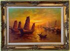Stunning Large Oil painting on Canvas, Seascape, Sailing Ships at Sunset, Framed