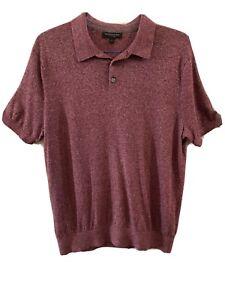 Banana Republic Men's Soft Shirt Size L Silk And Linen Burgundy