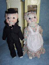 Vintage Dolls of China- Piggy Bride & Groom pair, porcelain