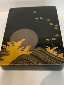 "Antique Japanese lacquer suzuribako writing box 10x8.5x2.5"" wave full moon birds"