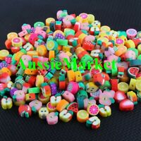 50 x fruit beads 5mm - 10mm polymer clay apple orange lemon kiwi lime handmade