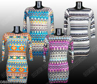 Kids Girls Midi Bodycon Dress Long Sleeves Aztec & Golden Foil Prints Ages 7-13