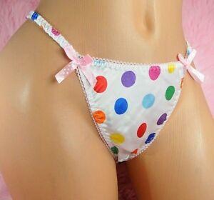 VTG style pure Satin shiny wet look ladies sissy Polka Dot panties String bikini